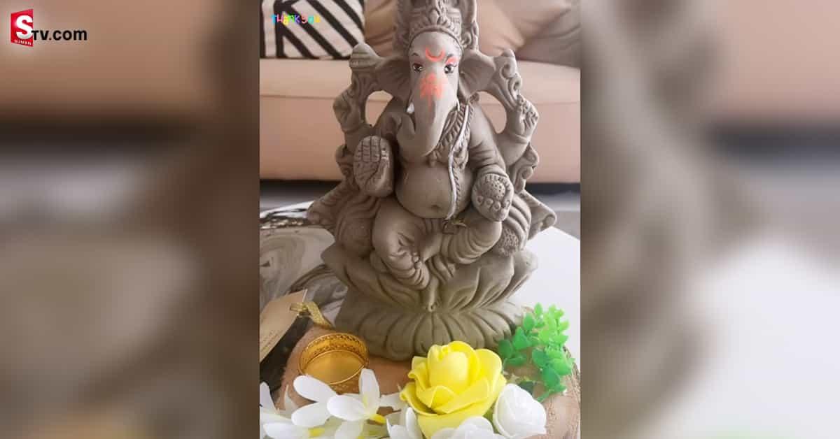Allu Arjun Daughter Making Lord Ganesh Toy - Suman TV