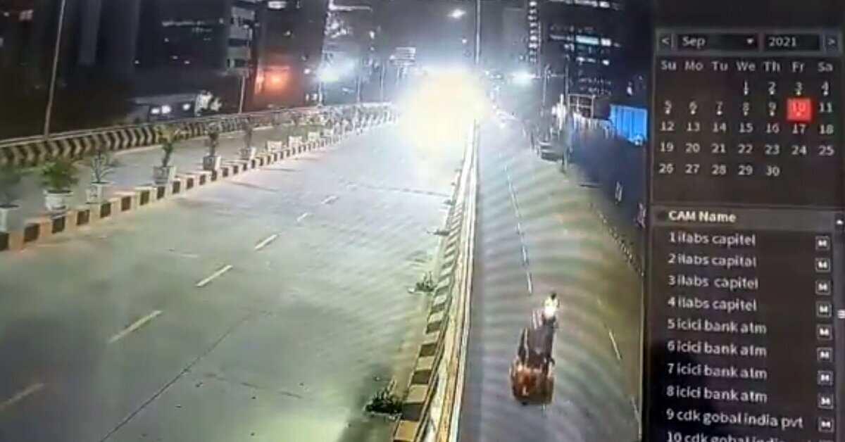 Sai Dharam Tej Accident CCTV Vis